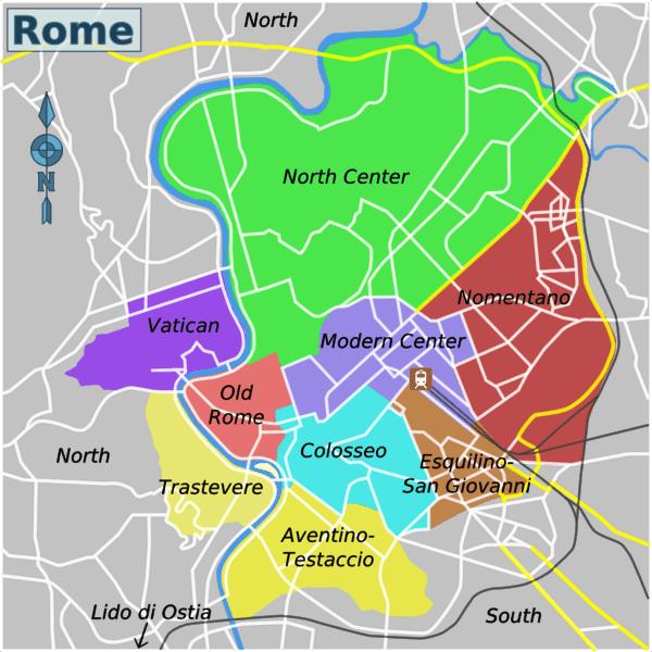 Mappa quartieri e zone dove dormire a Roma