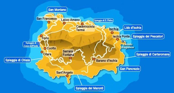 Ischia Cartina Turistica.Mappa Delle Migliori Zone Dove Alloggiare A Ischia Idee
