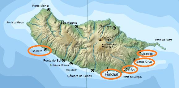 Mappa delle migliori zone dove alloggiare a Madeira
