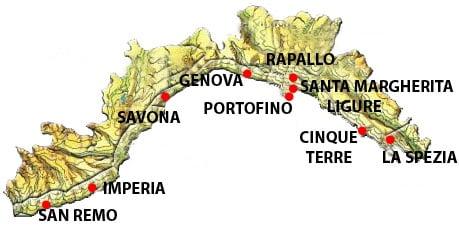 Mappa migliori zone dove alloggiare in Liguria