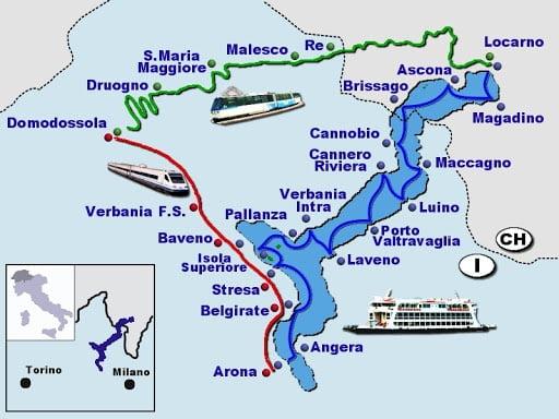 Mappa migliori località da visitare e dormire sul Lago Maggiore