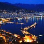 View of harbor from Alanya peninsula. Turkish Riviera by night