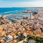 Alicante city panoramic aerial view