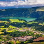 Landscape view in Salto do Cavalo (Horse Jump) with the Lagoon of Furnas in the Background, São Miguel island, Azores, Portugal. Salto do Cavalo in Sao Miguel Viewpoint, Azores, Portugal