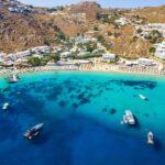 The famous celebrity beach Psarrou on the island of Mykonos, Greece
