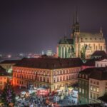 Brno Cityscape with Christmas Market at Night, Czech Republic