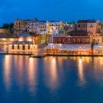 Panorama night Venetian quay, Chania, Crete