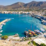 Aerial view of the harbor of the famous resort Chersonissos, Crete, Greece