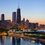 Chicago city skyline at sunset