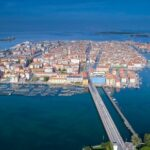 The aerial view of the Chioggia town in Venice  in Italy