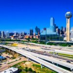 Modern infrastructure highways transportation around Dallas Texas Skyline