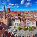Aerial view of the old town in Gdansk with amazing architecture, Poland