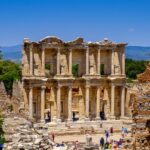 Antique objects and structures in Ephesus close-up, Selcuk, Turkey