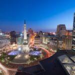 Indianapolis, Indiana, USA skyline over Monument Circle