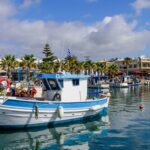 The scenic harbour with traditional fishing boats