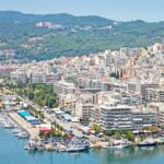 Panoramic view the city of Kavala with marina.
