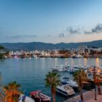 The capital of the island of Kos, Greece, view of the city and marina at sunset, a popular destination for travel in Europe