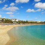 Beach Playa Blanca on Lanzarote, Spain.