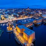 Aerial view of Royal Albert Dock in Liverpool, England