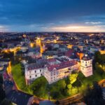 Lublin, Poland. Aerial view of Old Town at dusk