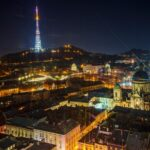 Night city Lviv panorama from a height