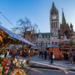 Christmas Markets in Albert Square near the Town Hall of Manchester in the nortwest of England