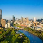 Aerial viewof Melbourne CBD in the morning