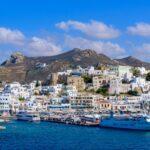 Port of Naxos, a Greek island in Aegean Sea, Greece