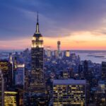 Dramatic sunset view highlighting the Empire State Building