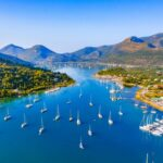 Aerial drone bird's eye view photo of iconic port of Nidri or Nydri, Leflkada island, Ionian, Greece
