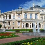 Summers day at the Public Opera theater in Odessa, Ukraine
