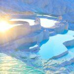 Thermal springs located on white limestone terraces, natural baths Pamukkale, Denizli province, Turkey