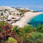 View on the beach Playa de Morro Jable, Fuerteventura, Spain.