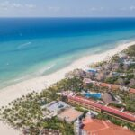 Luxury tropical resort with white sand. Aerial view