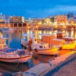 Night old harbour of Heraklion, Crete, Greece