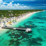 Aerial drone view of Caribbean resort Bavaro, Punta Cana, Dominican Republic