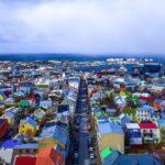 Reykiavik Iceland askyline from above