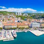 Croatia, city of Rijeka, aerial panoramic view of city center