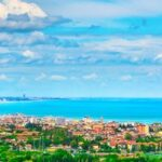Panoramic view of Romagna coast or Riviera Romagnola, Cattolica Riccione Italy