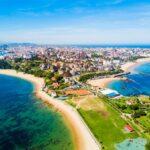 Santander city beach aerial view