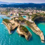 Canal D'Amour beach in Sidari, Corfu island, Greece. People bath