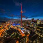 Panoramic View of Toronto Cityscape at Night, Ontario, Canada