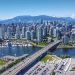 Aerial view of downtown Vancouver and Cambie bridge.