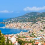 A view of Samos town which is located in beautiful bay on coast of Samos island, Greece