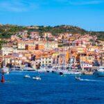 La Maddalena old town quarter with port at the Tyrrhenian Sea coastline in Sardinia, Italy